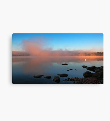 A Pink Mist Rising At Dawn - Crystal Lake Canvas Print