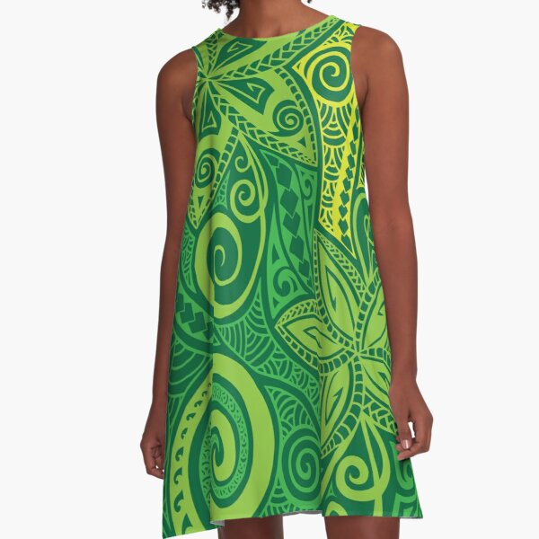 Shades of green Polynesian floral design A-Line Dress