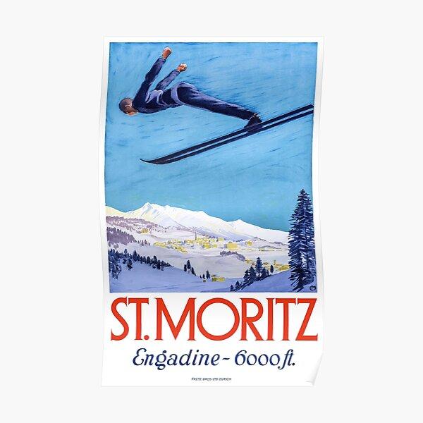 1928 St. Moritz Ski Jumper Switzerland Travel Poster Poster