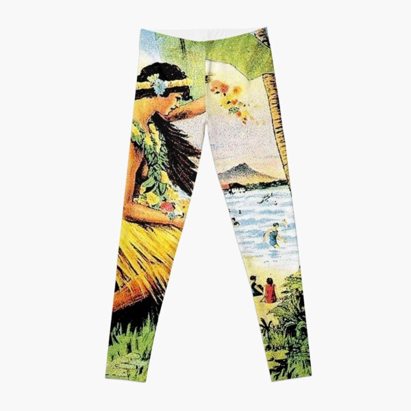 HAWAII : Vintage Honolulu Mid-Pacific Carnival Print Leggings