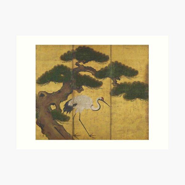 Japanese Red Crowned Crane Edo Jidai Gold Leaf Folding Screen Art Print