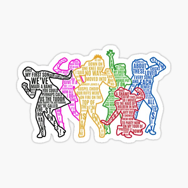 SIX The Musical Queens Silhouettes— With Lyrics! Sticker