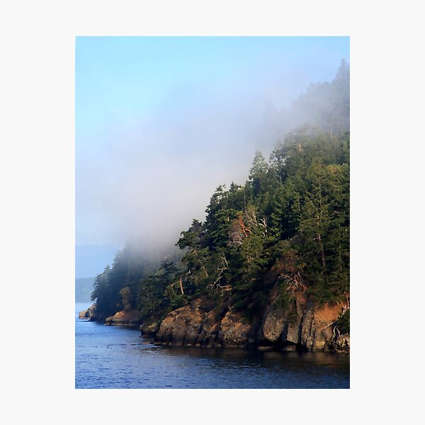 Galiano Island draped in morning mist Photographic Print