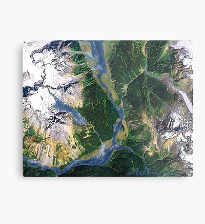 """Alaskan Spring"" - The snow is receding and the valleys are greening. Metal Print"