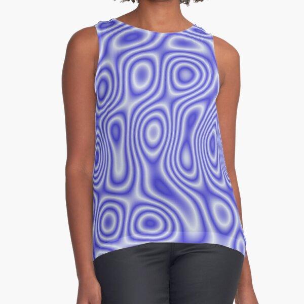 Blue Cosmic Liquid Pattern Sleeveless Top