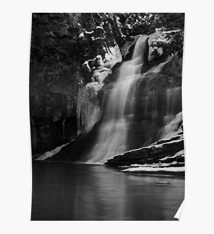 Ice Falls in Black & White Poster