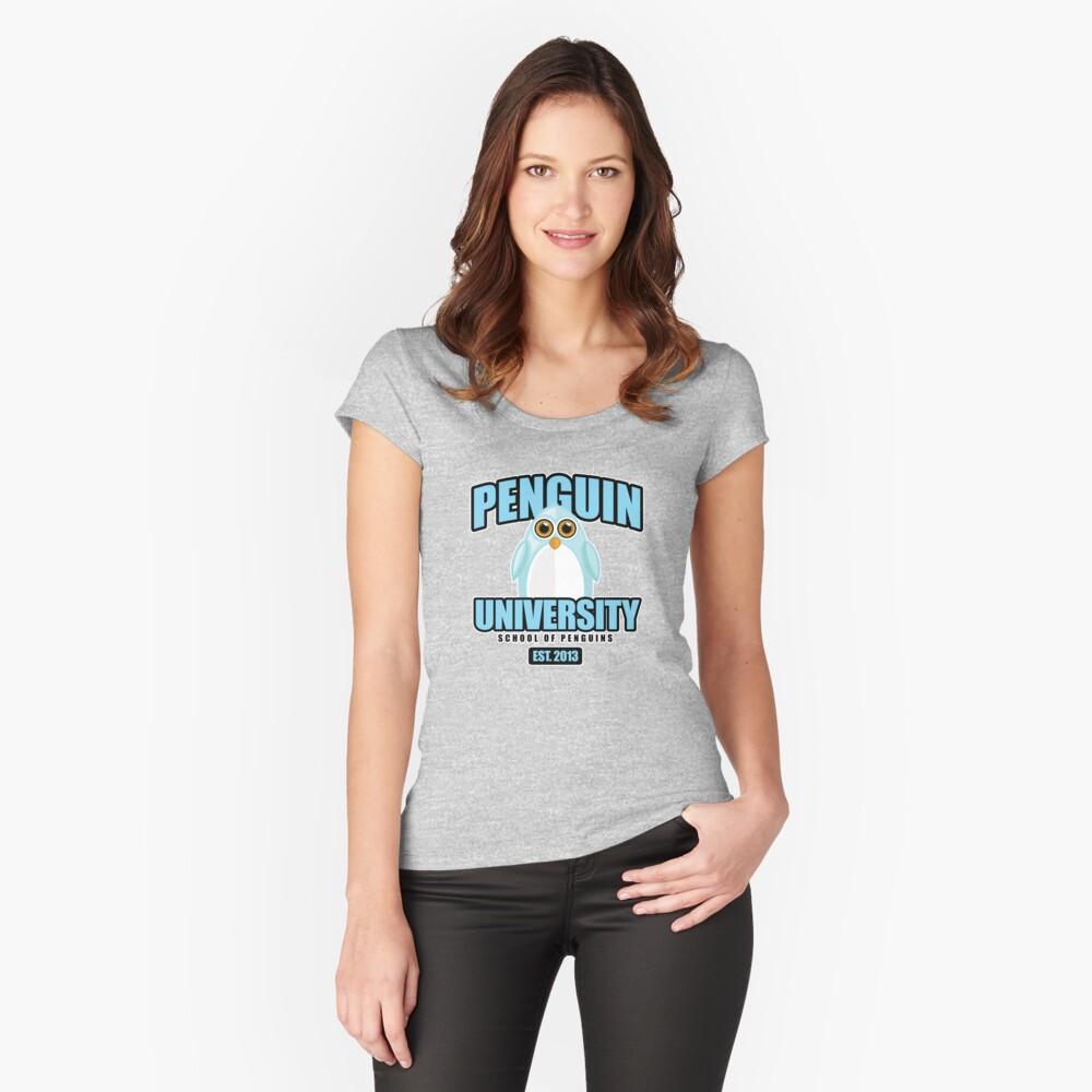 Penguin University - Blue Women's Fitted Scoop T-Shirt Front