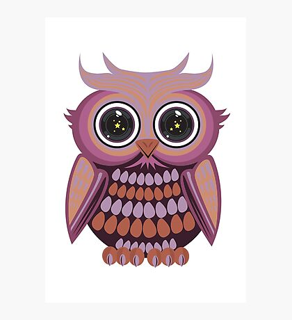 Star Eye Owl - Purple Orange Photographic Print