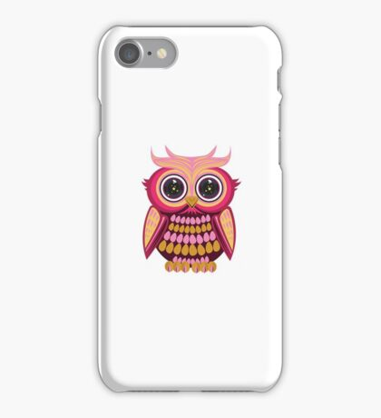 Star Eye Owl - Pink Orange iPhone Case/Skin