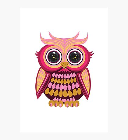 Star Eye Owl - Pink Orange Photographic Print