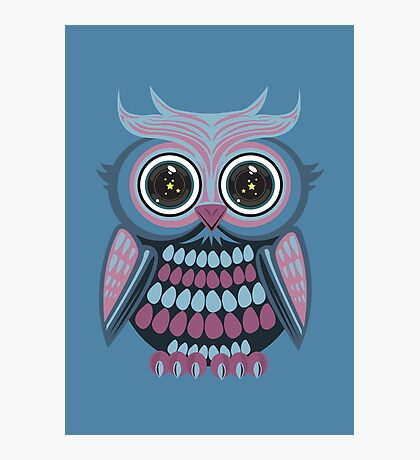 Star Eye Owl - Blue Purple 3 Photographic Print