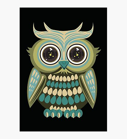 Star Eye Owl - Green 3 Photographic Print