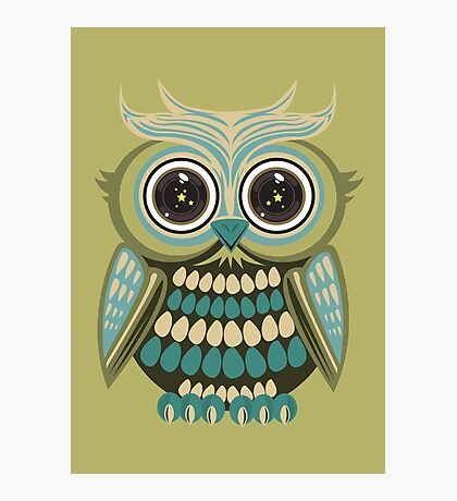 Star Eye Owl - Green Photographic Print