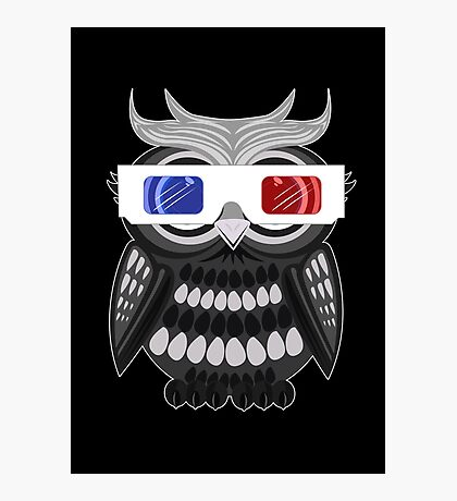 Owl - 3D Glasses - Black Photographic Print