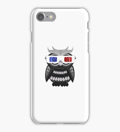 Owl - 3D Glasses - White iPhone Case/Skin