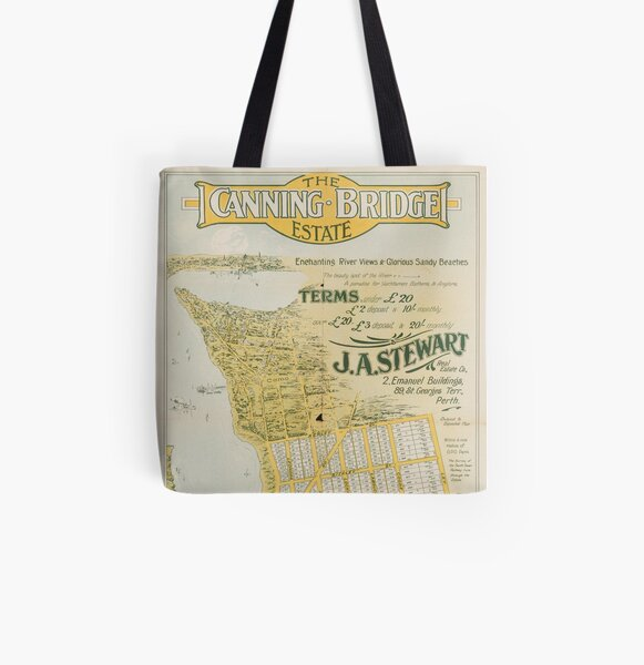 Map of Canning Bridge Estate, Perth, Western Australia, 1920, State Library of Western Australia All Over Print Tote Bag