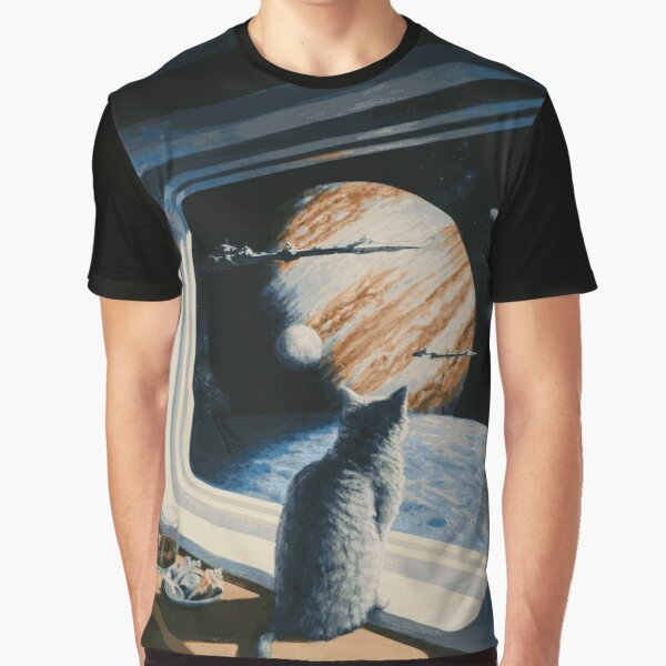 The Space Kitten - Retrofuturistic Vintage Artwork Graphic T-Shirt