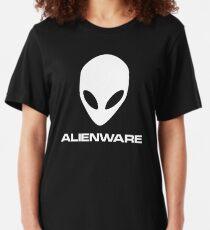 Alienware Dell Gaming logo White Slim Fit T-Shirt