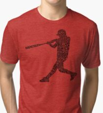 Softball Baseball Player Calligram Tri-blend T-Shirt