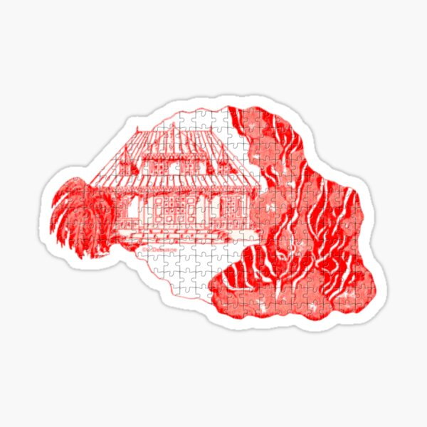 Reunion Island, puzzle style, France. Sticker