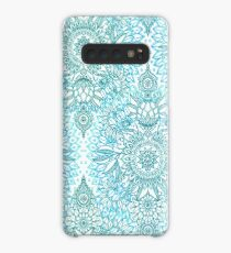 Turquoise Blue, Teal & White Protea Doodle Pattern Case/Skin for Samsung Galaxy
