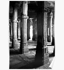 Ruined 15th Century Mosque Interior, Champaner, Gujurat, India Poster
