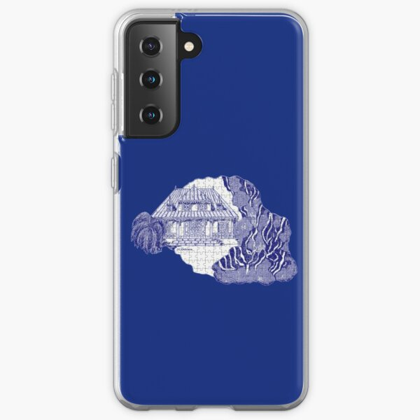 Reunion Island, France, puzzle style, in blue Samsung Galaxy Soft Case