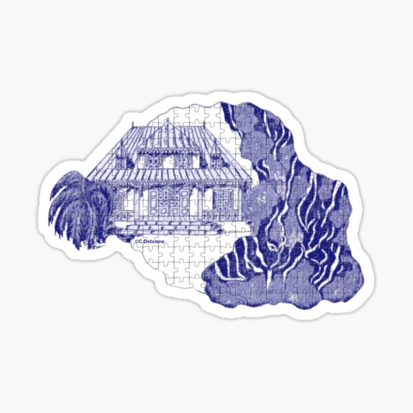 Reunion Island, France, puzzle style, in blue Sticker