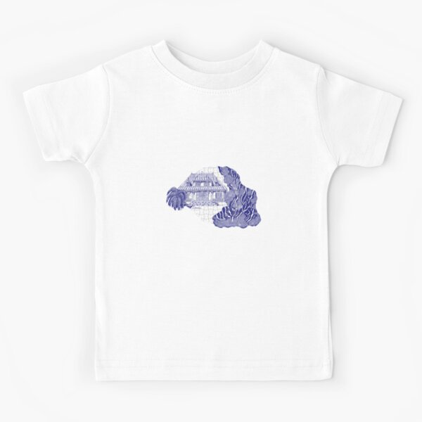 Reunion Island, France, puzzle style, in blue Kids T-Shirt