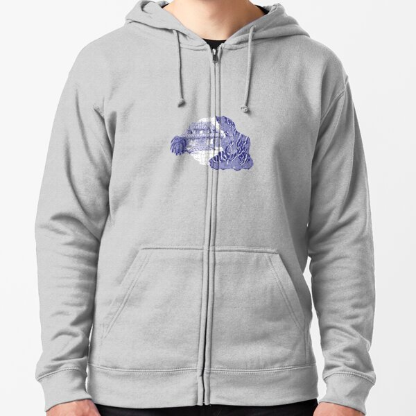 Reunion Island, France, puzzle style, in blue Zipped Hoodie