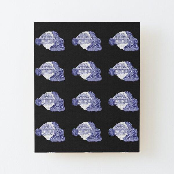 Île de la Réunion, France, façon puzzle, en bleu Impression montée sur bois