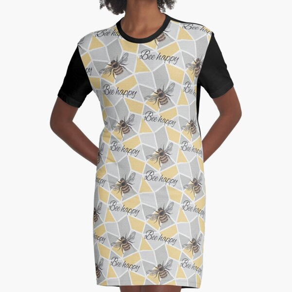 bumble bee typography geometric bee happy  Graphic T-Shirt Dress