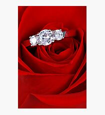 Red Rose with Diamond Ring Photographic Print