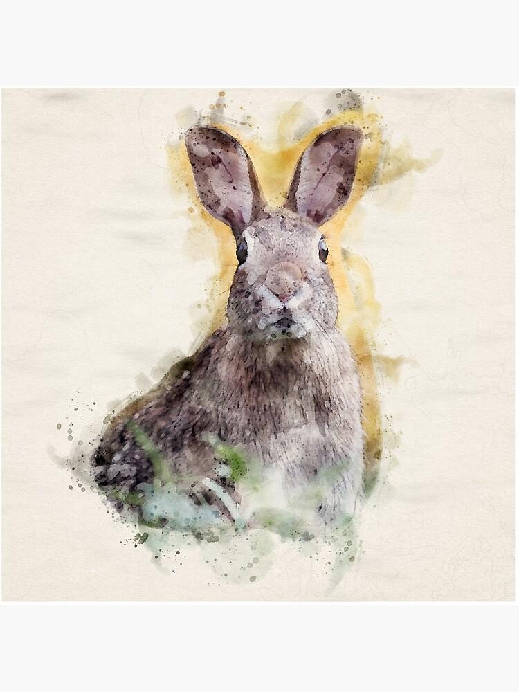Startled Rabbit | Wildlife Watercolor Illustration by DragonflyDes