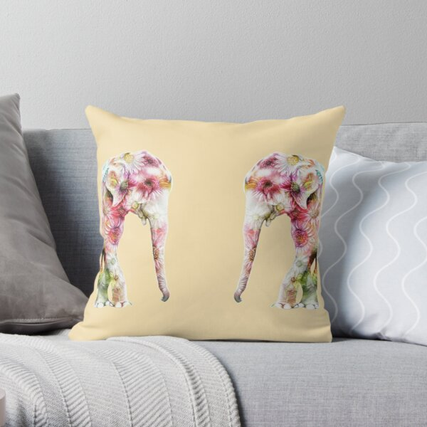 Elephant on Daisies Throw Pillow
