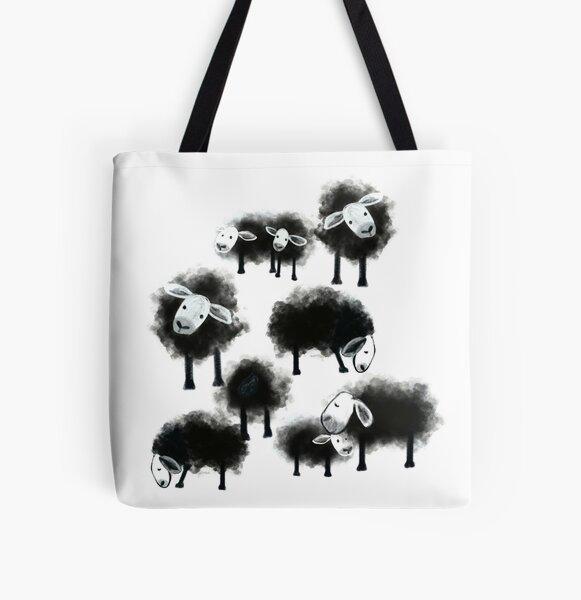 Wee Flock of Black Sheep All Over Print Tote Bag