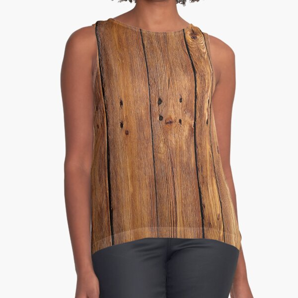 #wood, #hardwood, #dark, #log, carpentry, rough, pine, old, desk, horizontal, plank, flooring, wood paneling, backgrounds Sleeveless Top