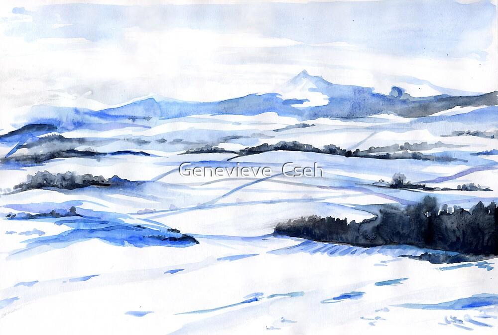 Snow on Bennachie by Genevieve  Cseh