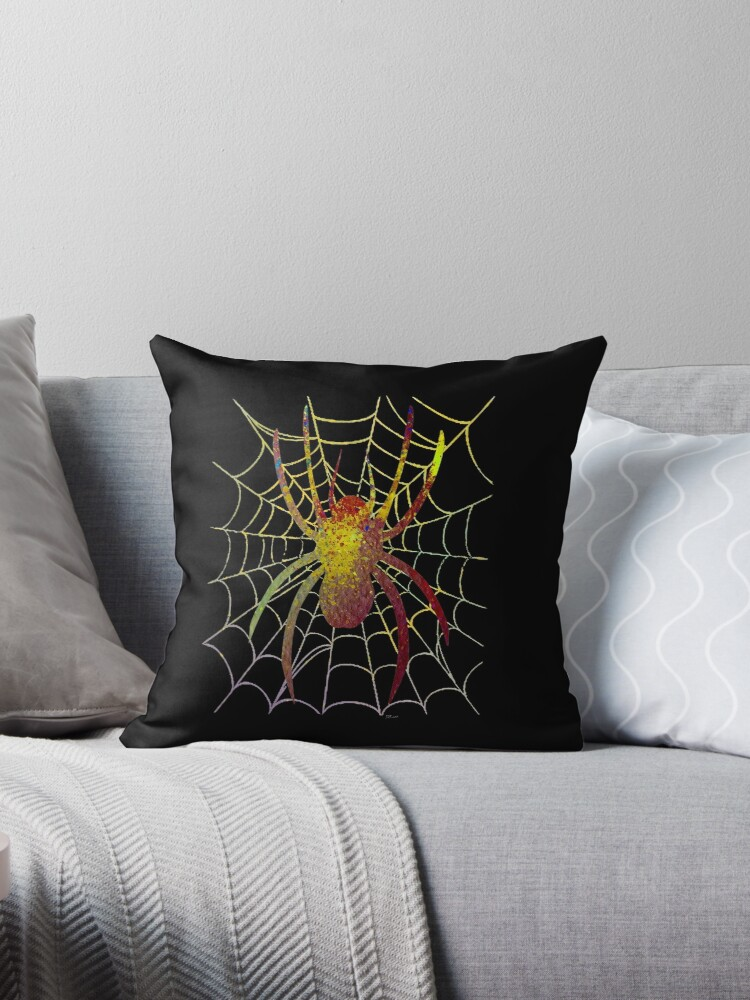 Colourful Spider on Black Background by Bamalam Art and Photography