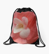 Begonia in Soft Shades of Red Drawstring Bag
