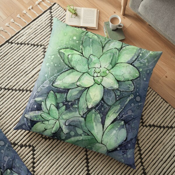 Aquarelle Succulente Coussin de sol