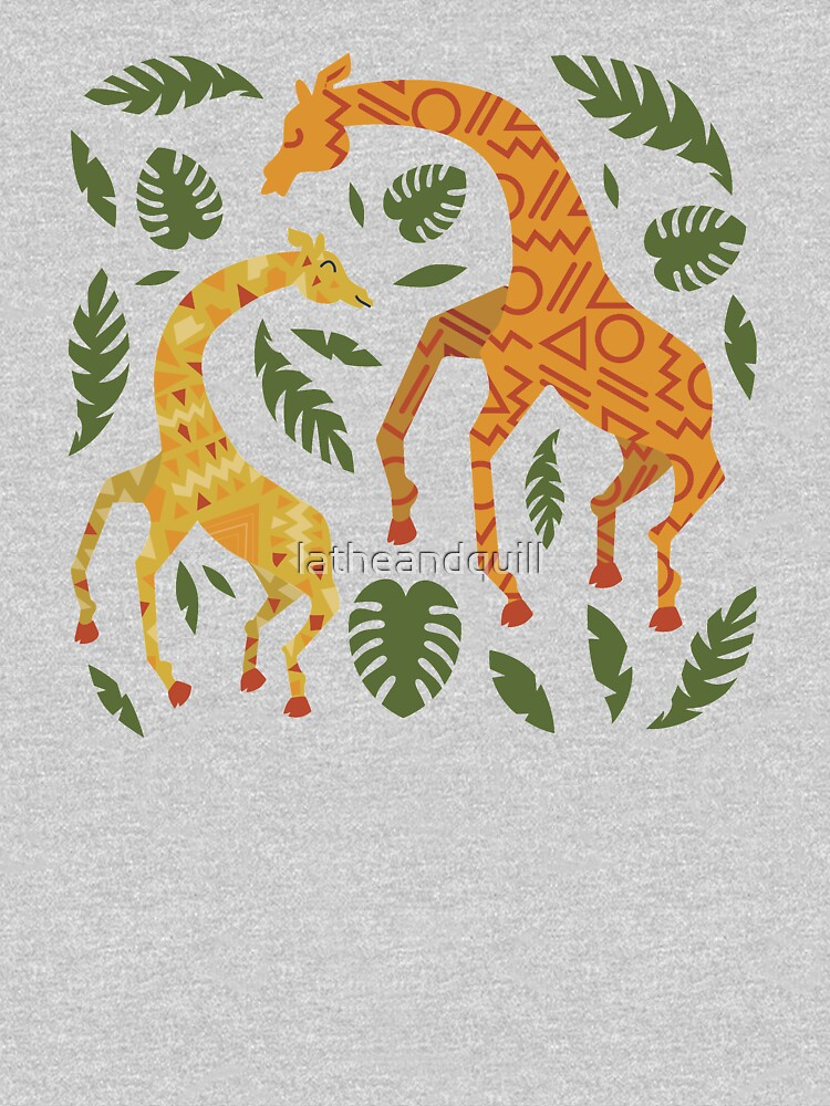Dancing Giraffes with Patterns by latheandquill