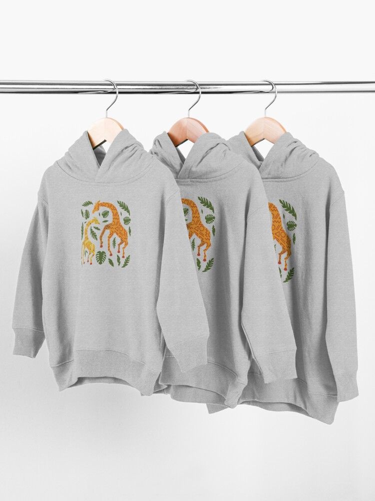 Alternate view of Dancing Giraffes with Patterns Toddler Pullover Hoodie