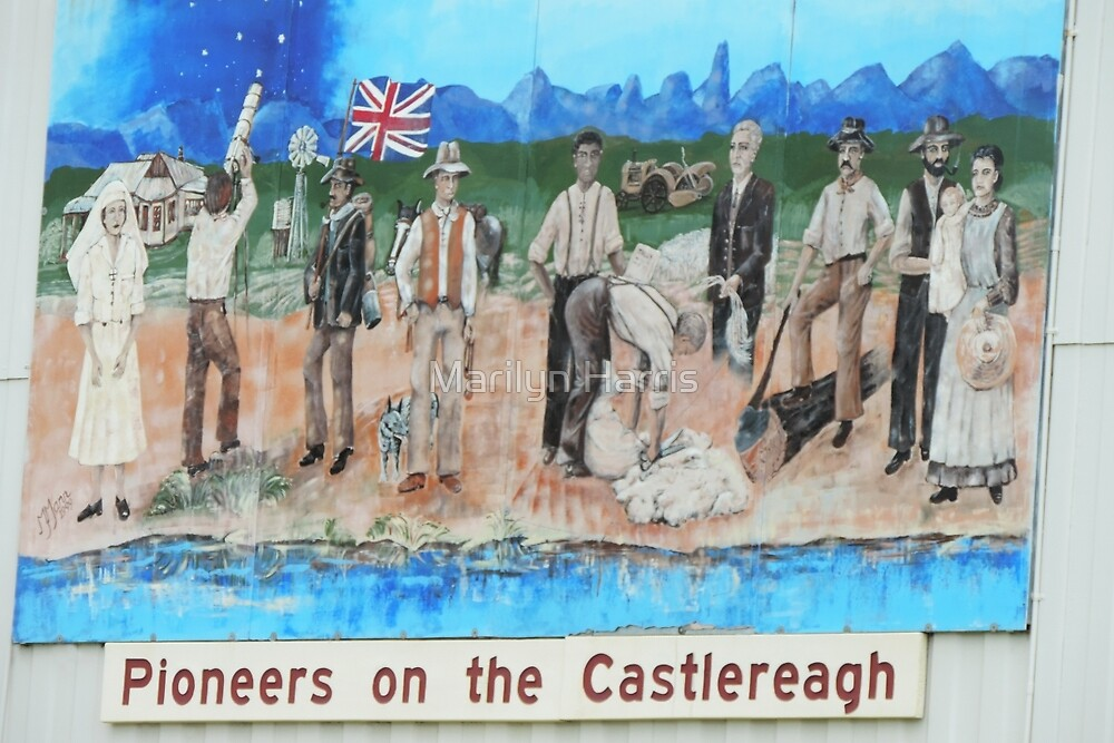 Pioneers on the Castlereagh - Mural by M. Mann 1999 by Marilyn Harris