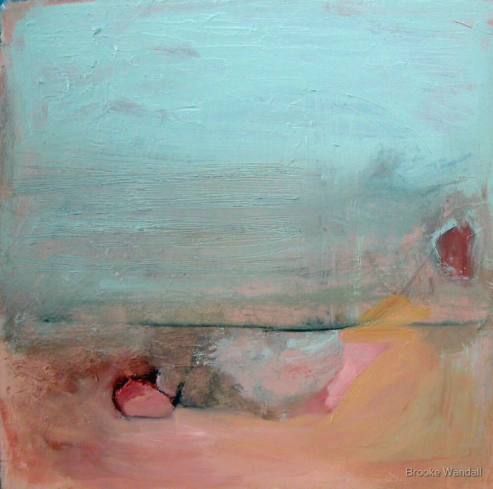 mint green and peach landscape by Brooke Wandall