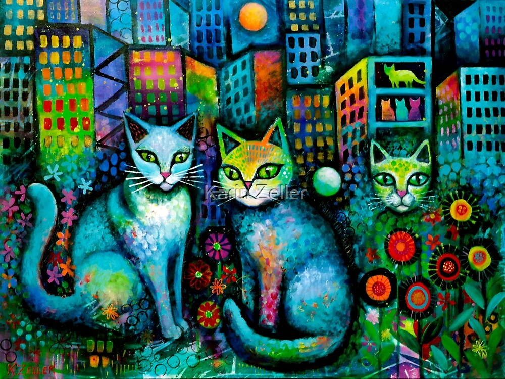 Cats by Moonlight by Karin Zeller