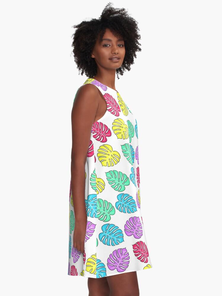 Alternate view of Rainbow Monstera Deliciosa A-Line Dress