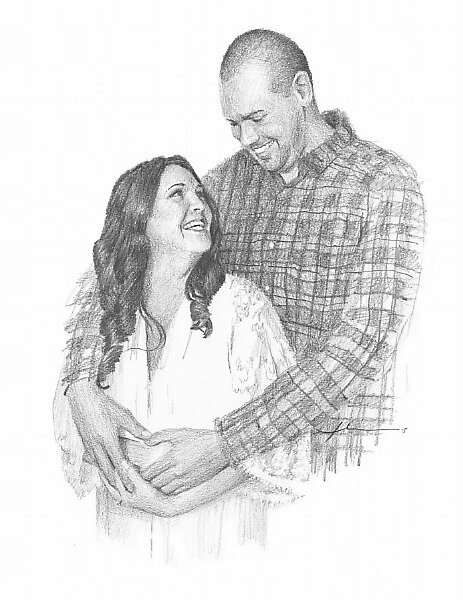 drawing of newlyweds hugging by Mike Theuer