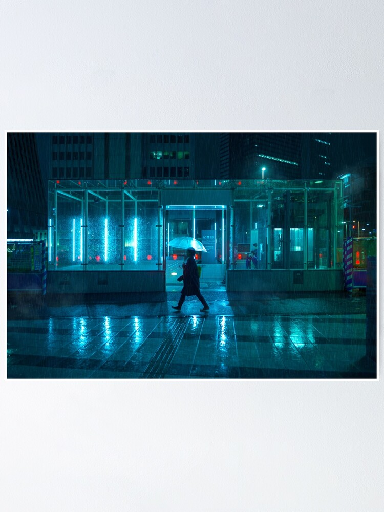 Alternate view of Neo Tokyo - Walking in the rain Poster