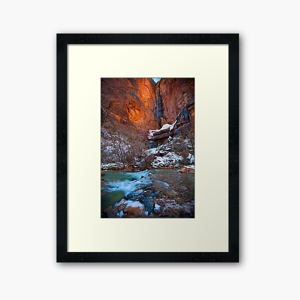 Waterfall at the Temple of Sinawava, Winter Framed Art Print